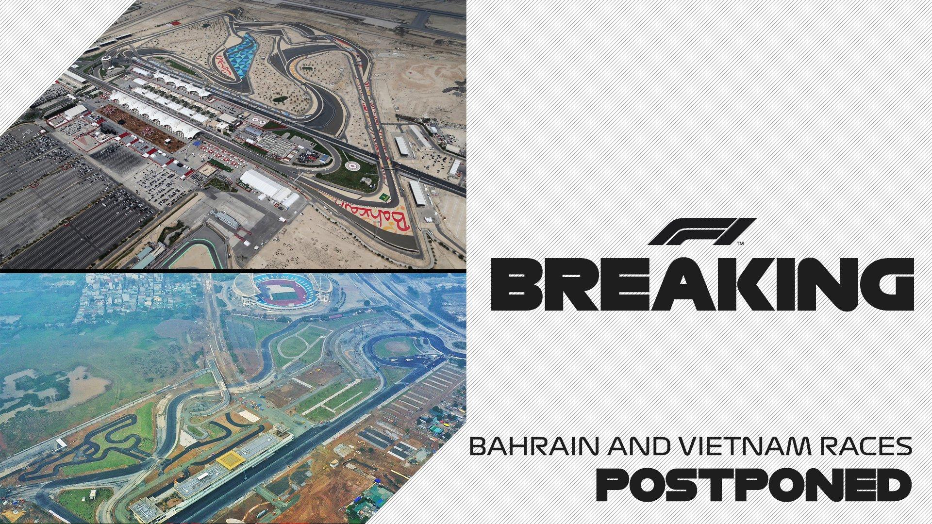 Les GP de Bahrein et Vietnam officiellement reportés