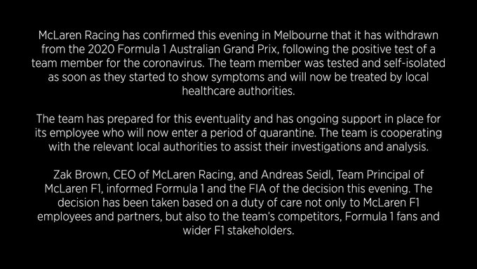 McLaren se retire du GP d'Australie
